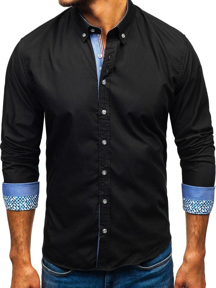 Cămașă elegantă pentru bărbat cu mâneca lungă neagră Bolf 8838