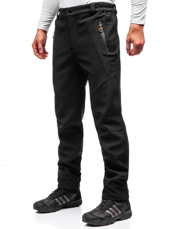 Pantaloni trekking tip softshell bărbați negru-portocaliu Bolf 5454