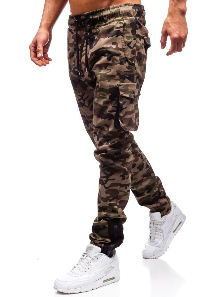 Pantaloni jogger cargo bărbați camuflaj-verzi Bolf 0705