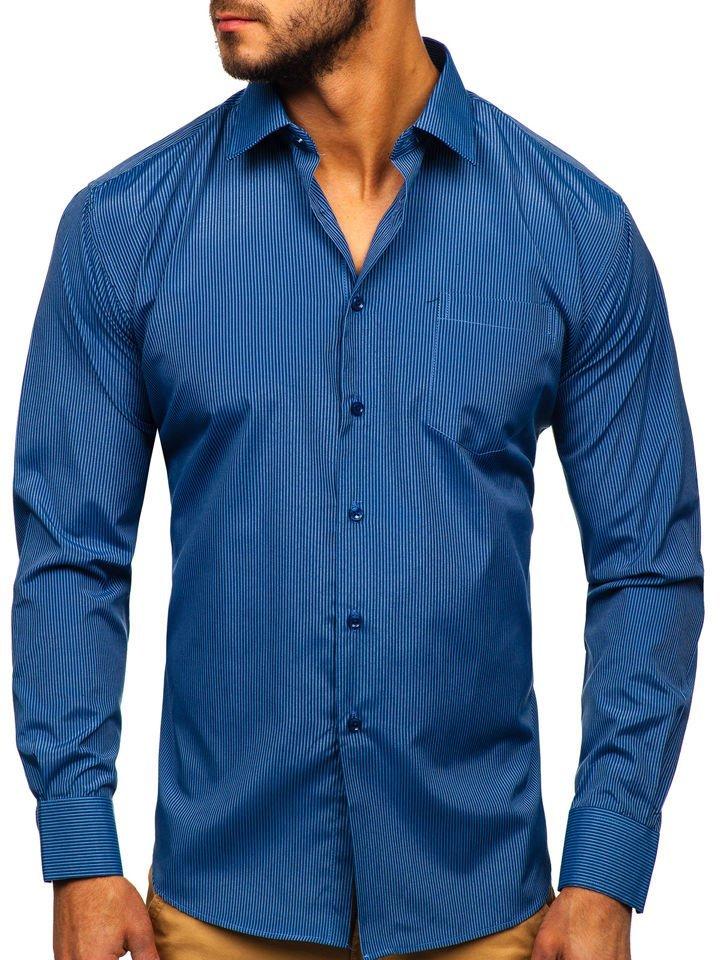 Cămașă elegantă bărbați albastra Bolf NDT9
