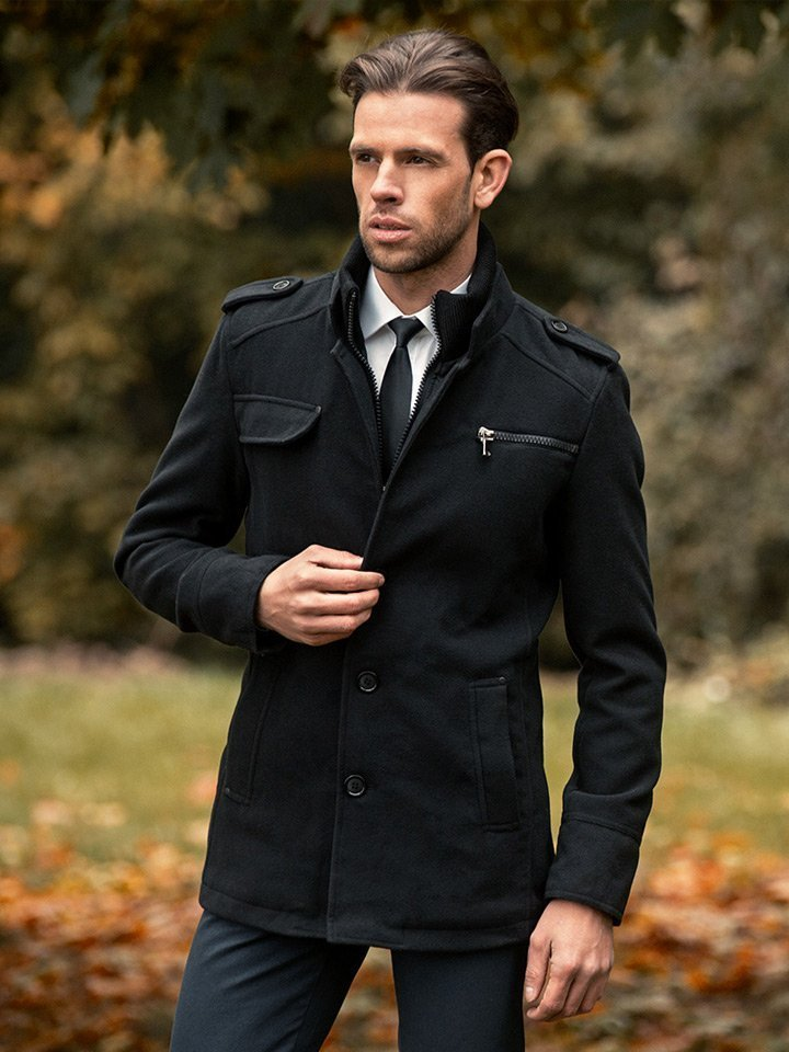 Palton de iarnă bărbați negru Bolf 8856B imagine