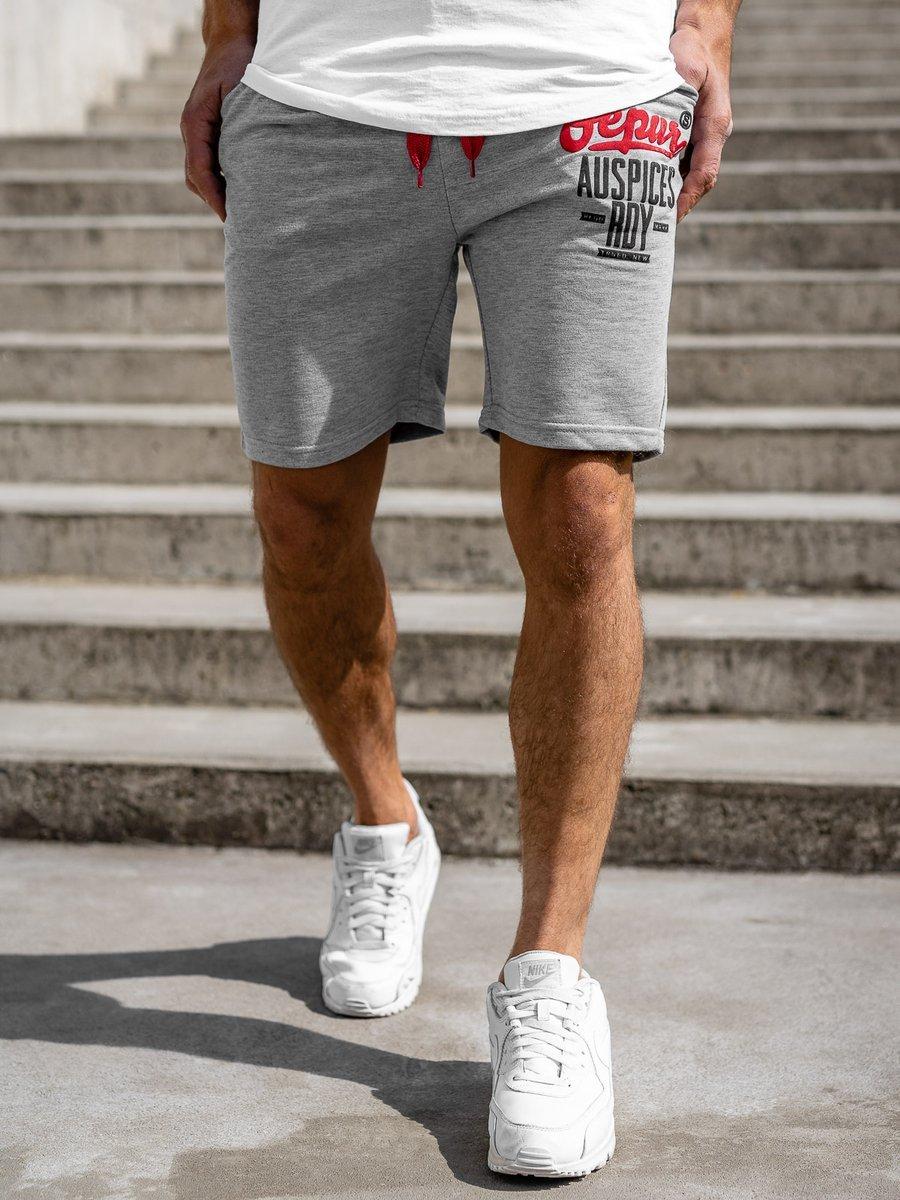 Pantaloni scurți sportivi pentru bărbat gri Bolf EX07 imagine