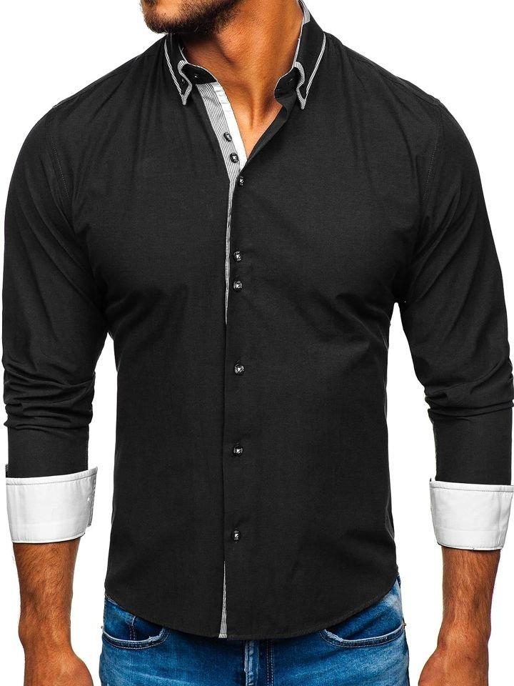 Cămașă elegantă bărbați negru Bolf 6929-A