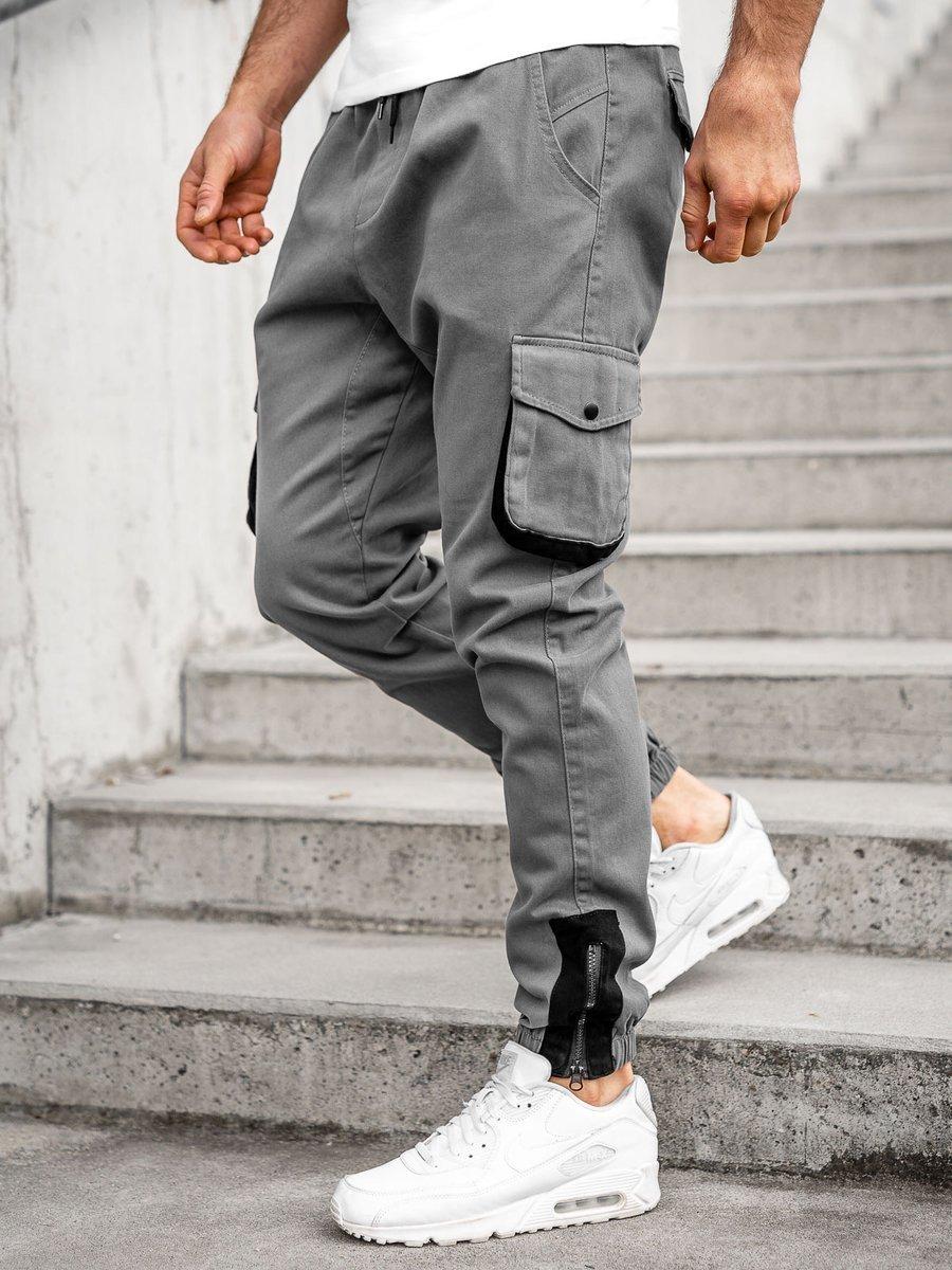 Pantaloni cargo joggers grafit Bolf 0705 imagine