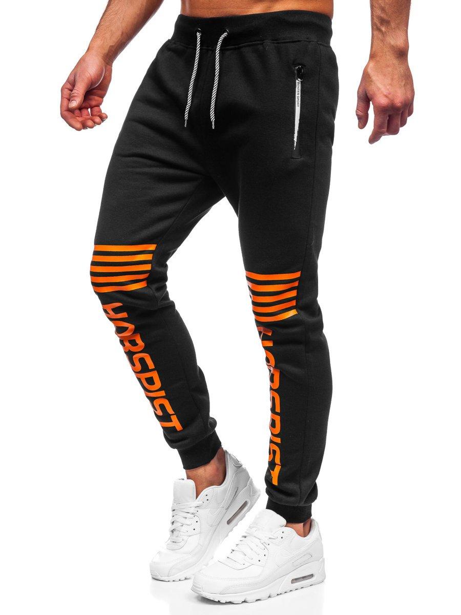 Pantaloni de trening negri-portocaliu Bolf K10012 imagine