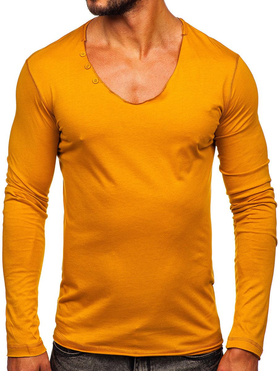 Long sleeve fără imprimeu pentru bărbat galben-muștar Bolf 547 imagine
