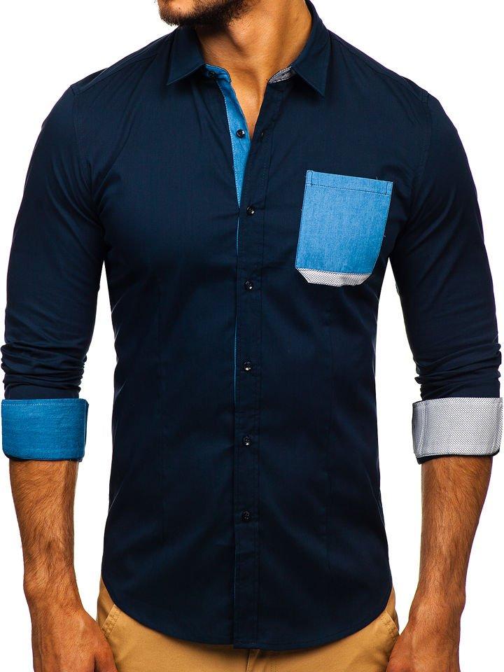 Cămașă elegantă pentru bărbat cu mâneca lungă bleumarin Bolf 7192