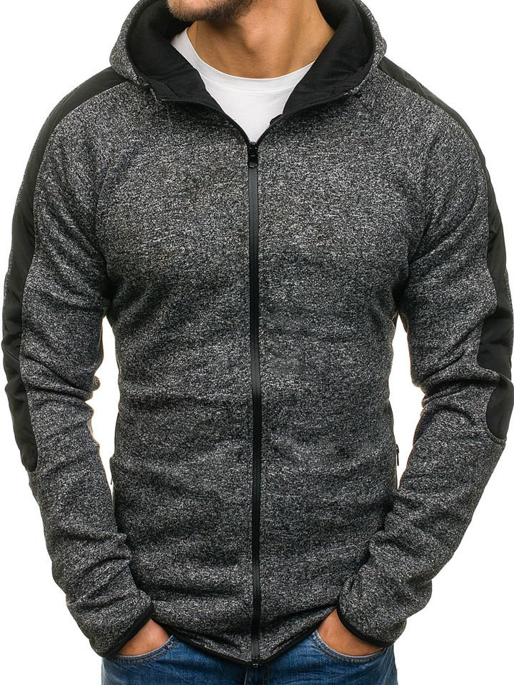 Bluză cu glugă pentru bărbat neagră Bolf 2917