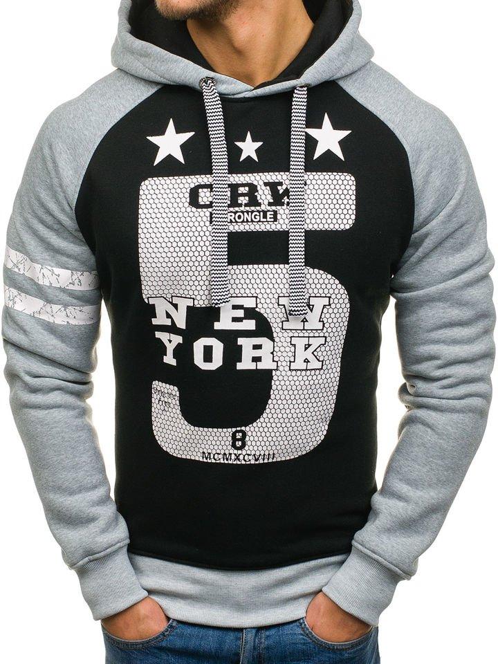 Bluză cu glugă și imprimeu pentru bărbat gri-neagră Bolf 3643A