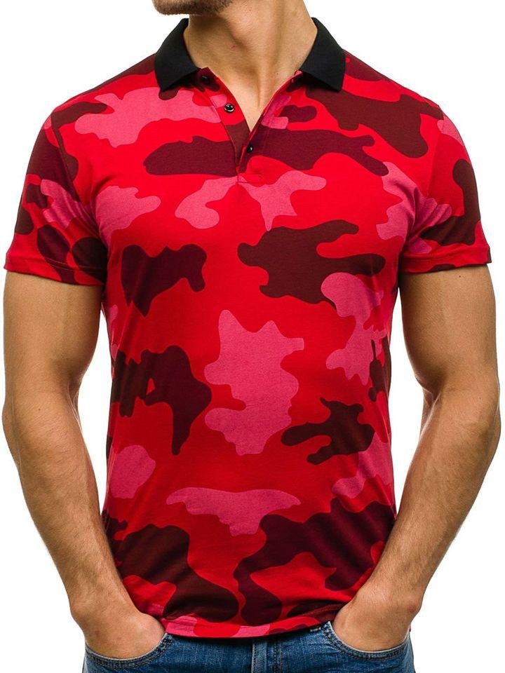 Tricou polo pentru bărbat camuflaj-roșu Bolf 1126 imagine