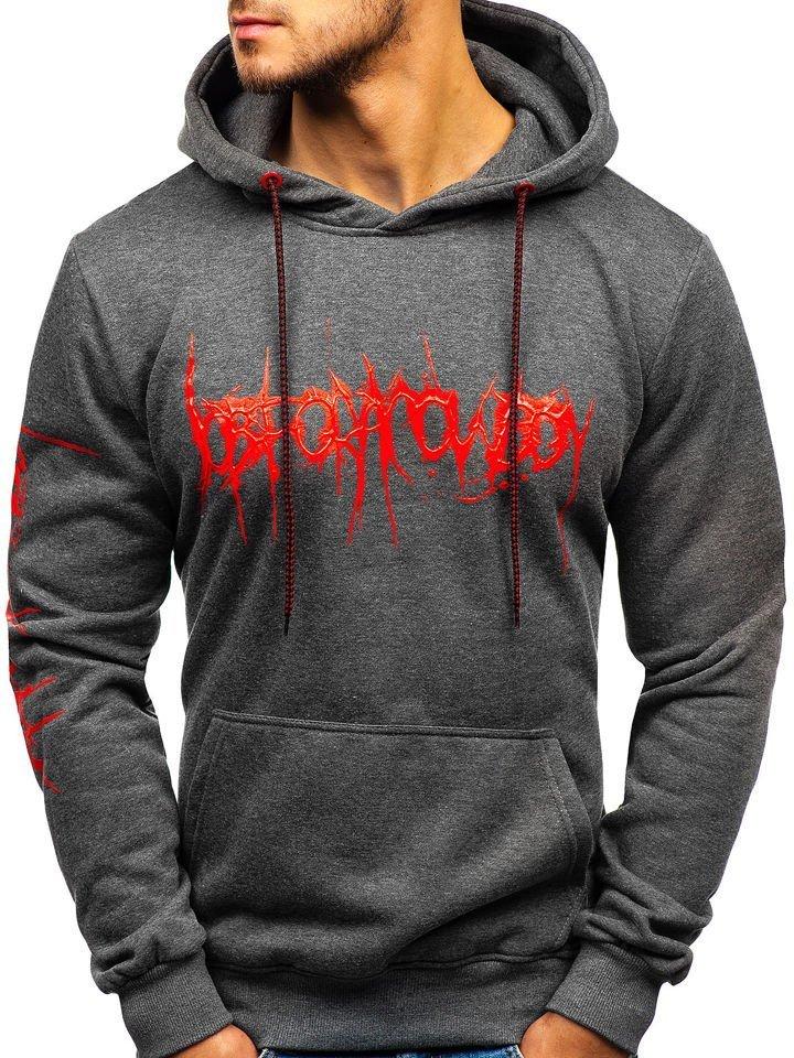 Bluză cu glugă și imprimeu pentru bărbat grafit Bolf 11019
