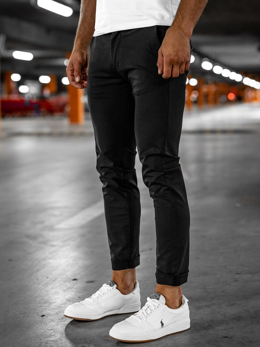 Pantaloni chinos negri bărbați Bolf 1146 imagine