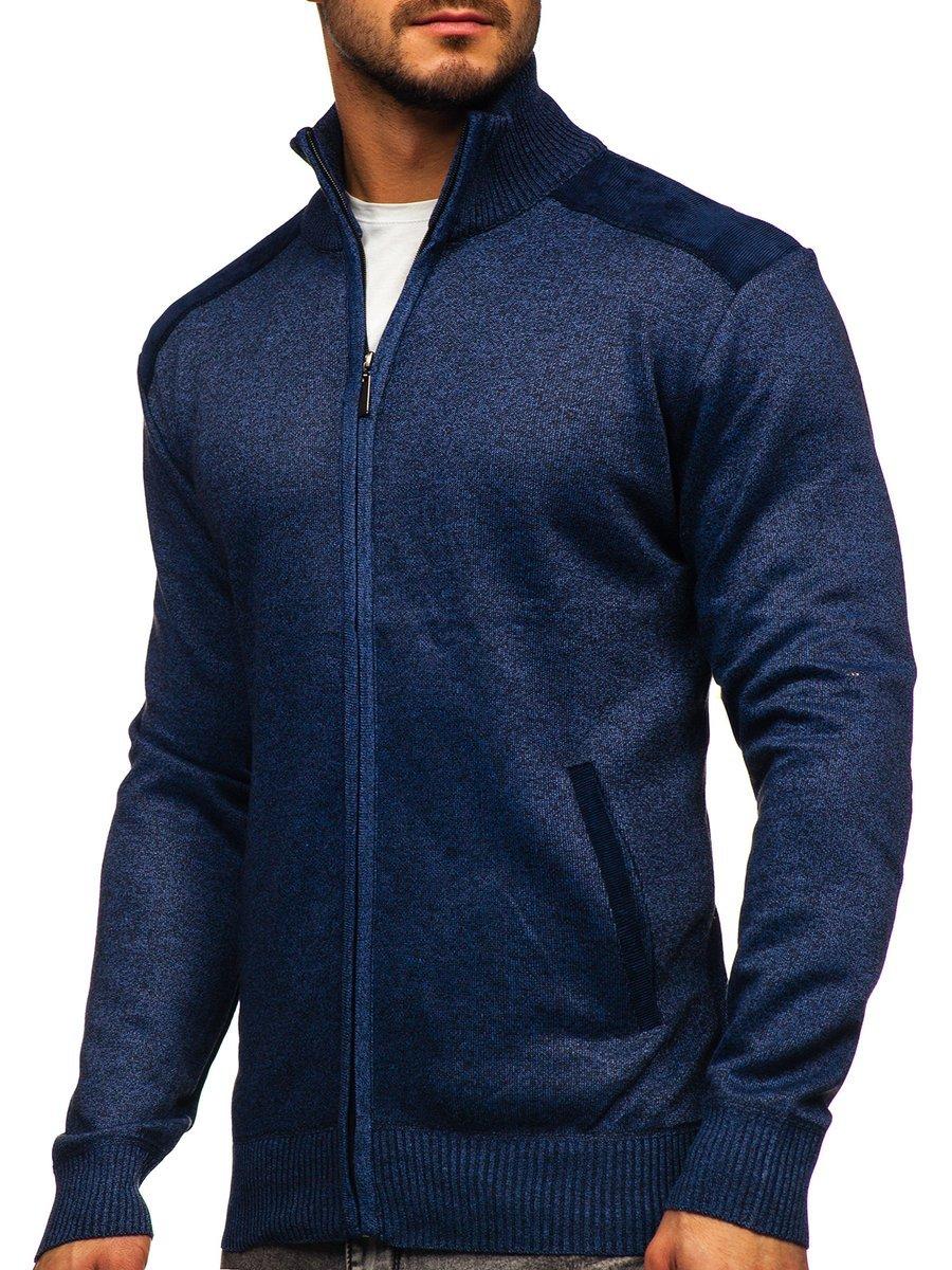 Pulover albastru cu fermoar Bolf H2057