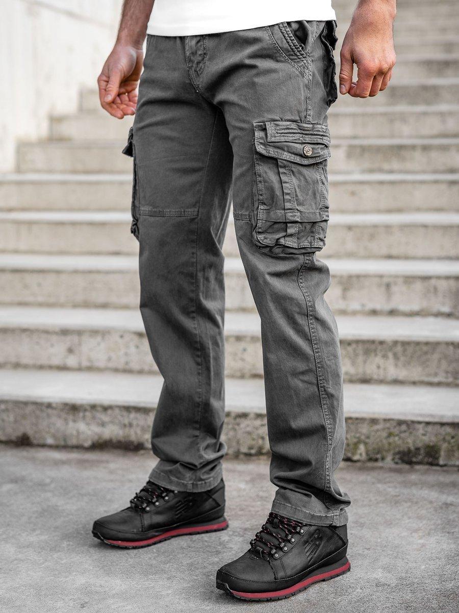 Pantaloni gri cargo cu curea Bolf CT8903 imagine