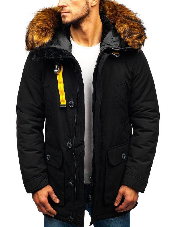 Geacă de iarnă pentru bărbat neagră Bolf 99126