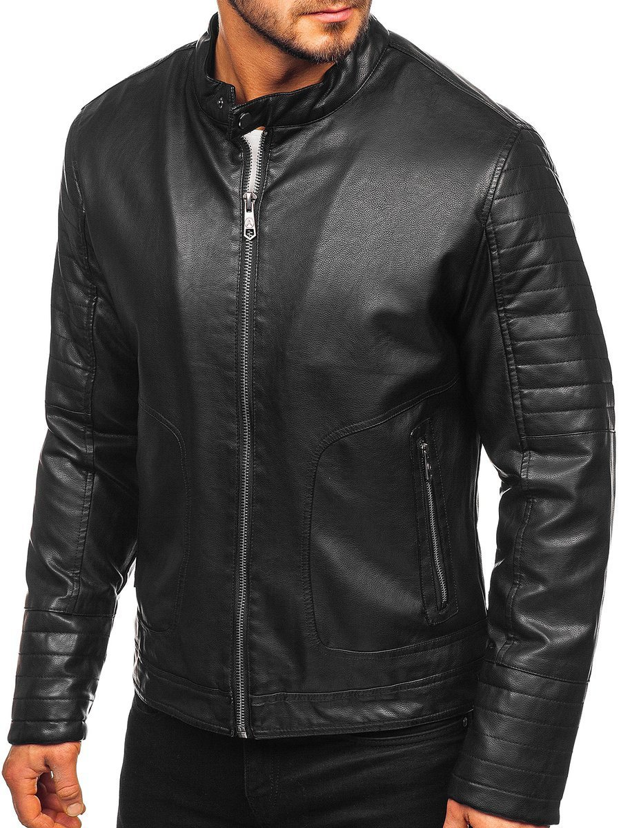 Geacă de piele biker izolata termic neagra Bolf 92531 imagine