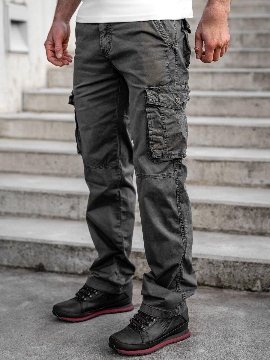 Pantaloni grafit cargo cu curea Bolf CT8906 imagine
