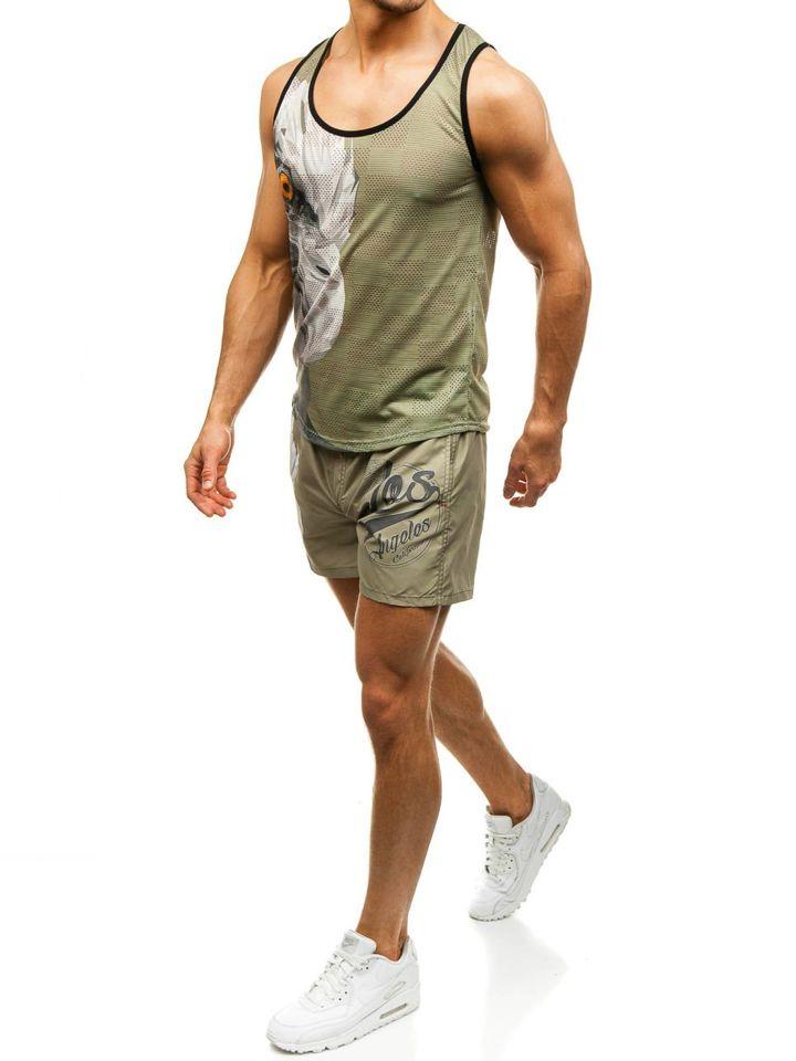 Set de plajă pentru bărbat: tricou de plajă+pantaloni scurți de înot verzi-bluemarin Bolf 2117 imagine