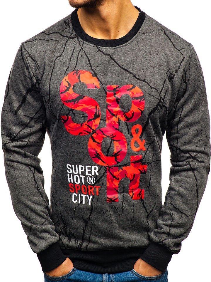 Bluză pentru bărbat fără glugă cu imprimeu grafit Bolf 22018 imagine