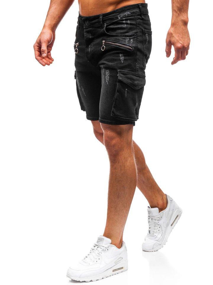 Pantaloni scurți denim bărbați negri Bolf 3001