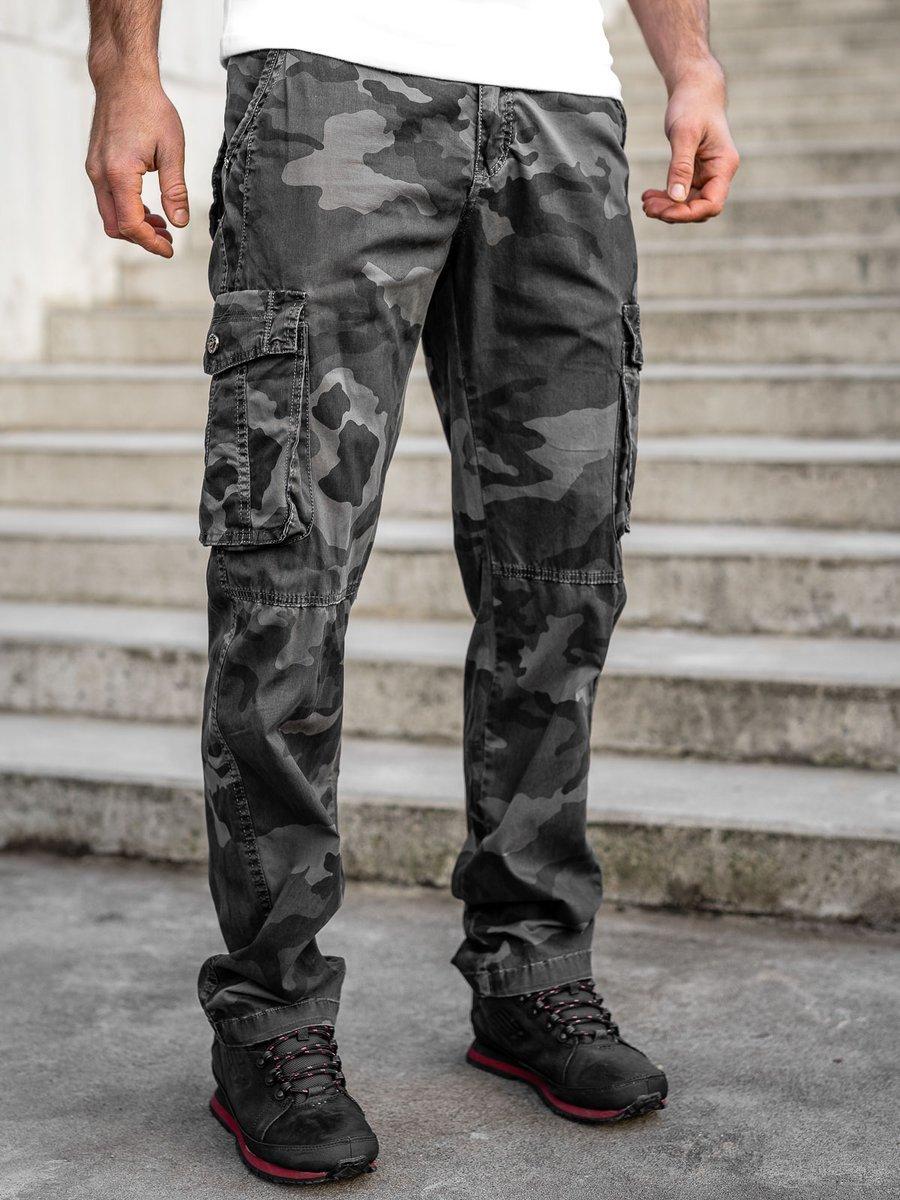 Pantaloni plus size grafit cargo cu curea Bolf CT8501 imagine