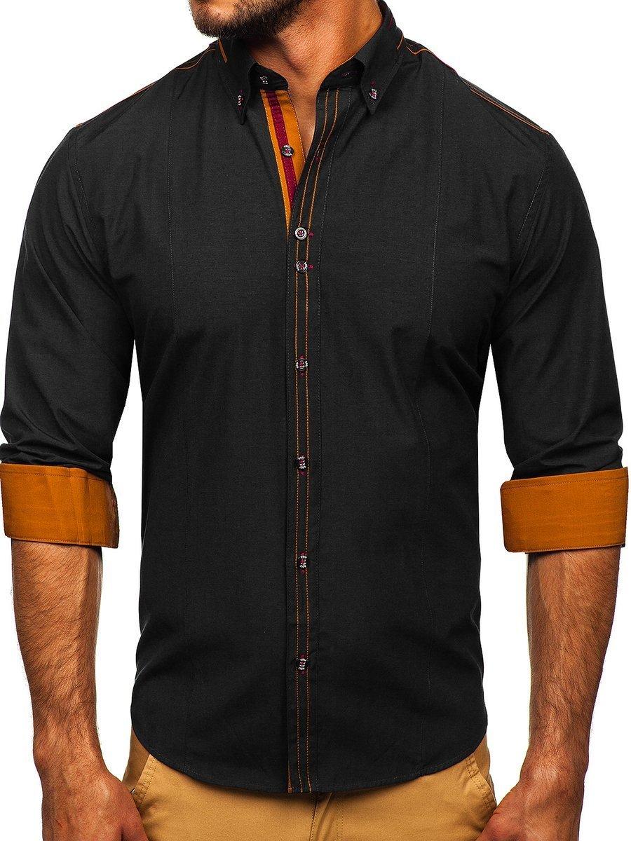 Cămașă elegantă pentru bărbat cu mâneca lungă neagră Bolf 4707