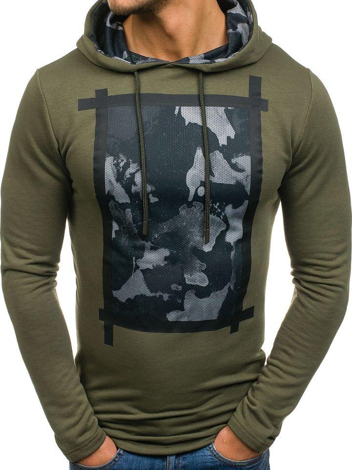 Bluză cu glugă și imprimeu pentru bărbat kaki Bolf 9088