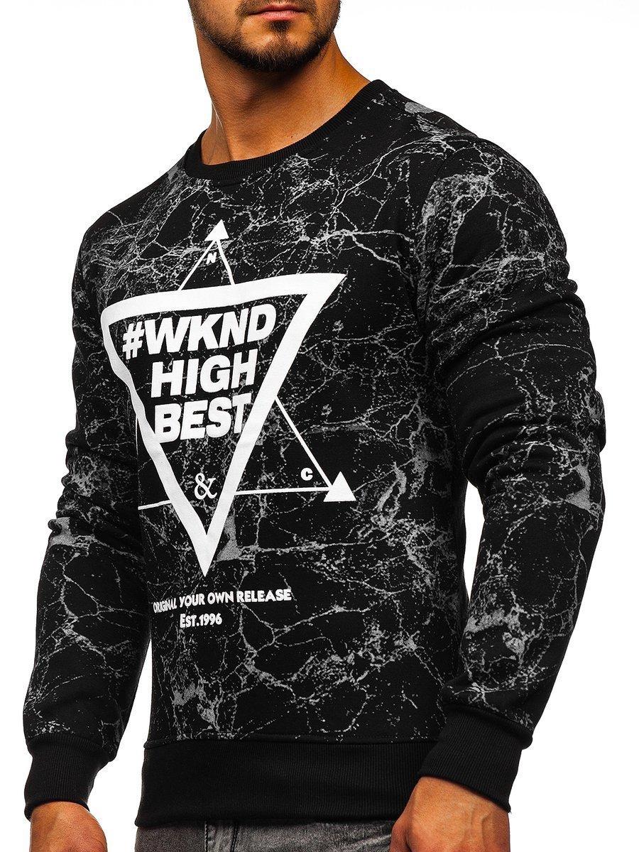 Bluză fără glugă cu imprimeu pentru bărbat neagră Bolf J40 imagine