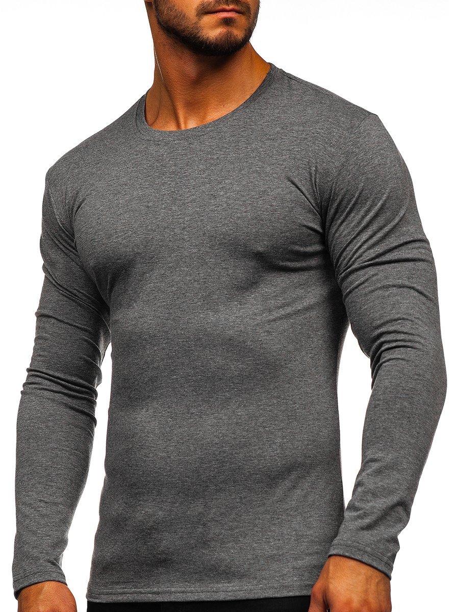 Long sleeve pentru bărbat fără imprimeu grafit Bolf 2088L
