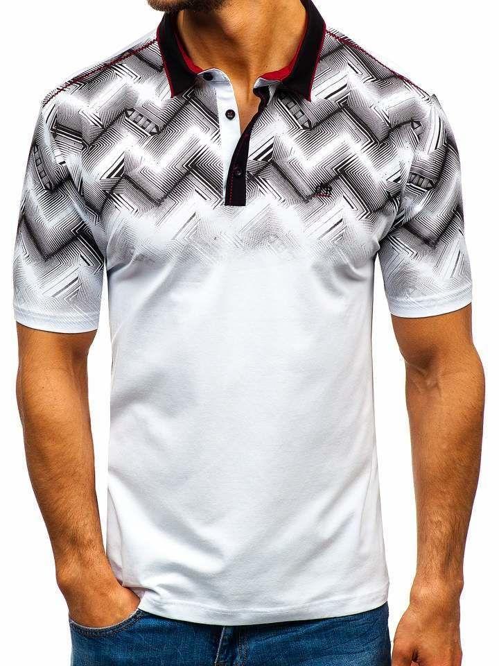 Tricou polo bărbați alb Bolf 6601