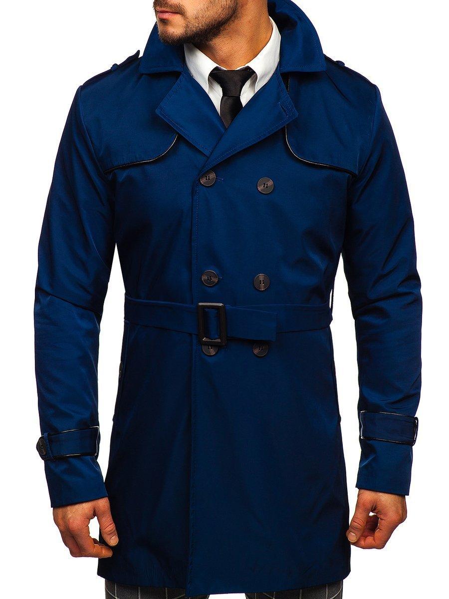 Palton albastru guler înalt cu două rânduri de nasturi și curea Bolf 0001 imagine