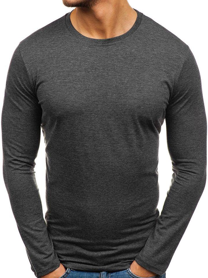 Long sleeve fără imprimeu pentru bărbat gri-antracit Bolf 135