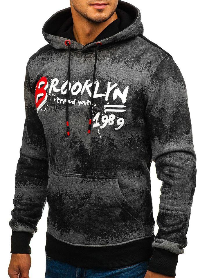 Bluză pentru bărbat cu glugă și imprimeu grafit Bolf DD268