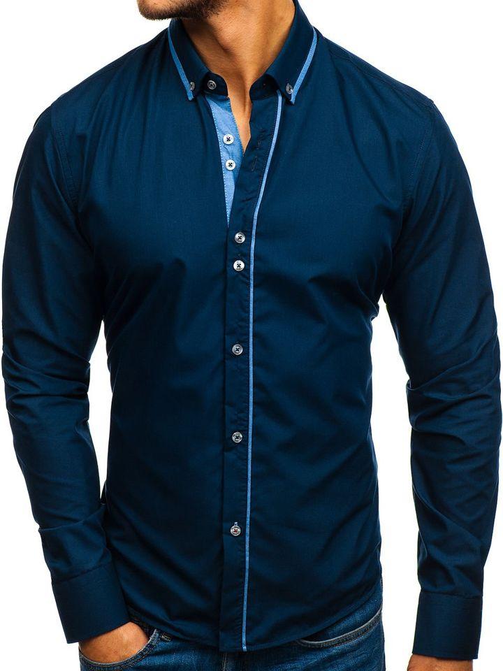 Cămașa elegantă pentru bărbat cu mâneca lungă bluemarin Bolf 8823