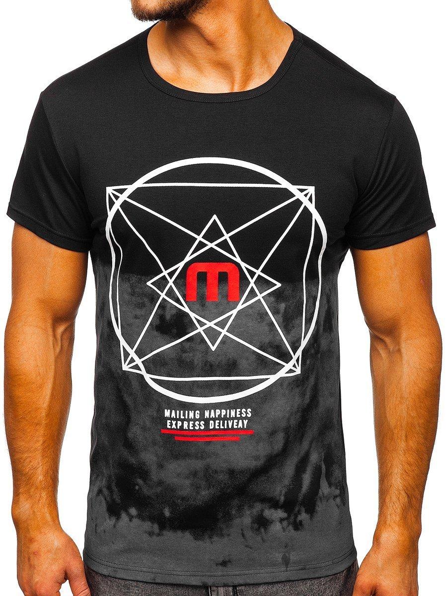 Tricou negru cu imprimeu Bolf 10887 imagine