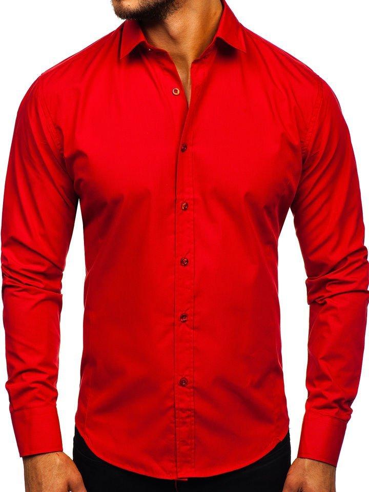 Cămașă elegantă pentru bărbat cu mâneca lungă roșie Bolf 1703
