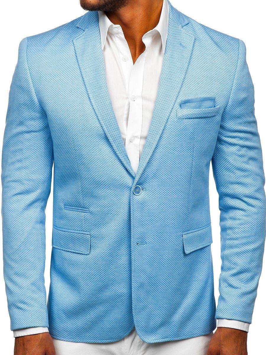 Sacou casual pentru bărbat albastru-deschis Bolf RBR152 imagine