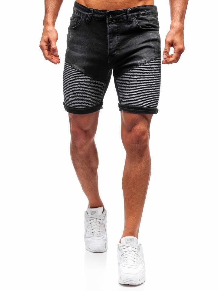Pantaloni scurți denim bărbați negri Bolf 1058