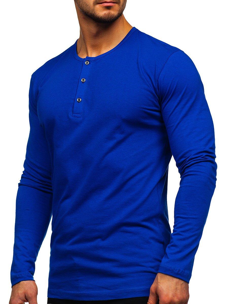 Bluză albastră cu închidere la nasturi Bolf 1114