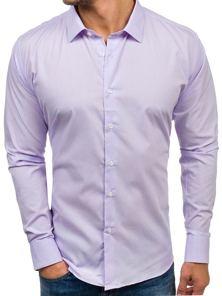 Cămașă elegantă cu mâneca lungă pentru bărbat violet Bolf TS100