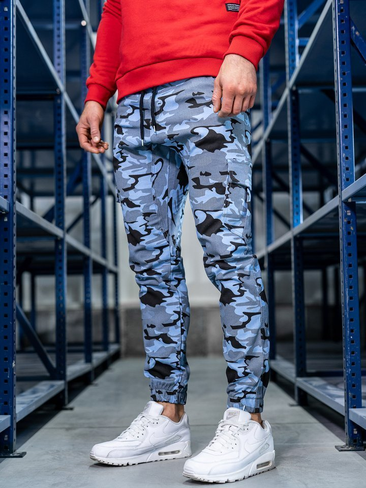Pantaloni joggers cargo pentru bărbat albastru-deschis Bolf 0404