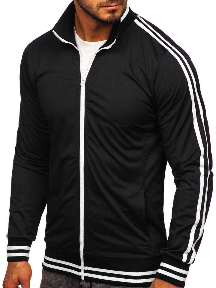 Bluză retro style cu fermoar bărbați neagră Bolf 11113
