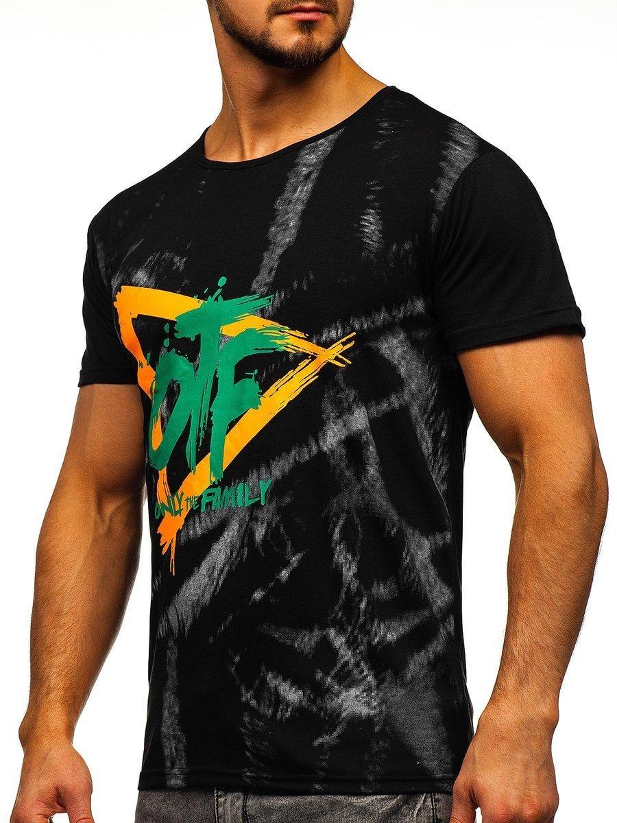 Tricou cu imprimeu bărbați negru Bolf KS1943T imagine