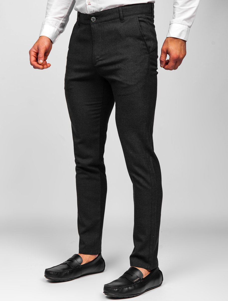 Pantaloni negri chinos Bolf 0016 imagine
