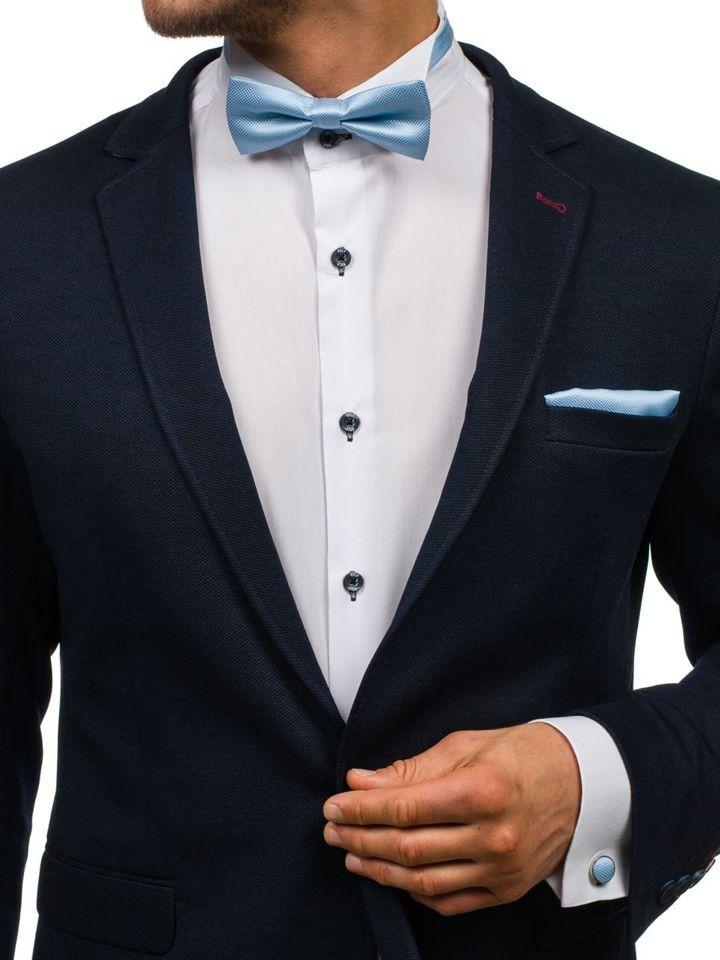 Set pentru bărbat papion, butoni, batistă albastră-deschis Bolf MSP01