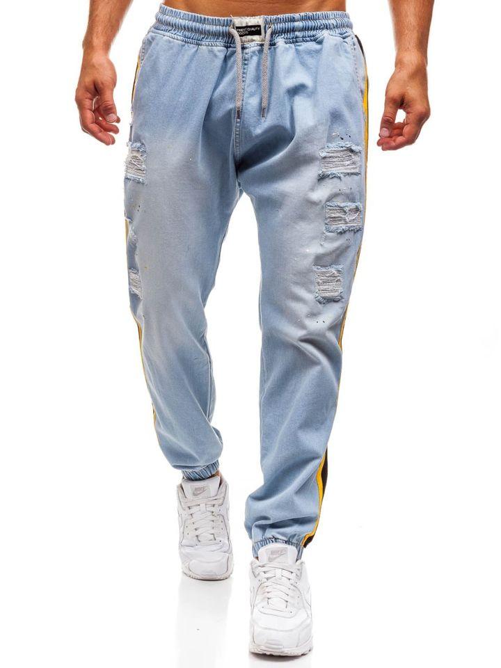 Jeanși baggy pentru bărbat albaștri-deschis Bolf 2041