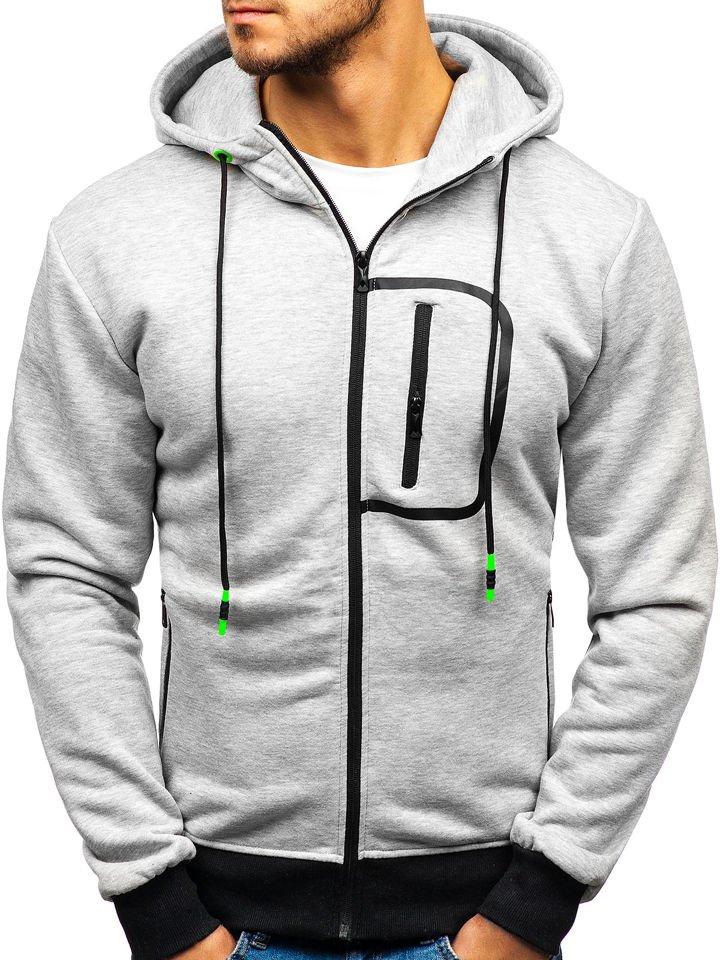 Bluză cu glugă și fermoar pentru bărbat gri Bolf 33020