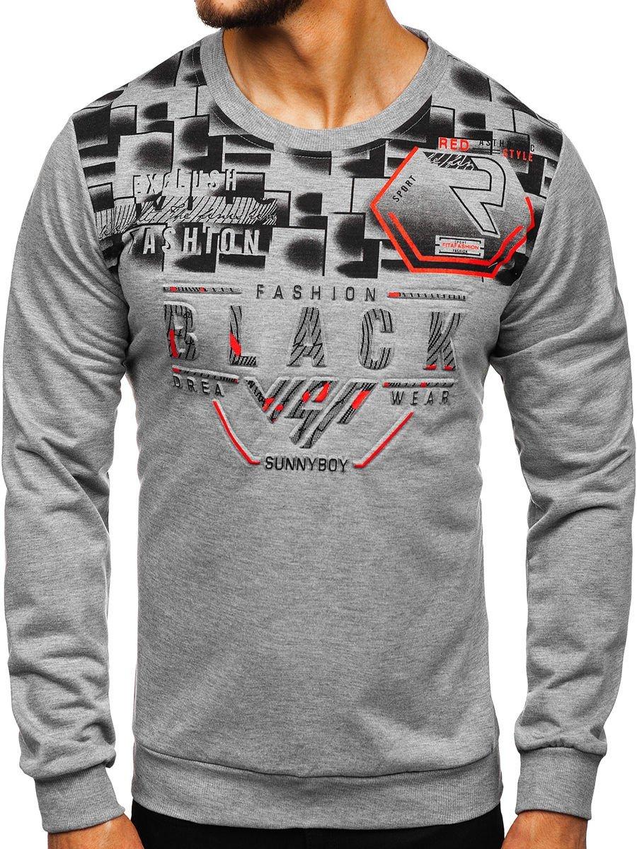 Bluză gri cu imprimeu bărbați Bolf 81028