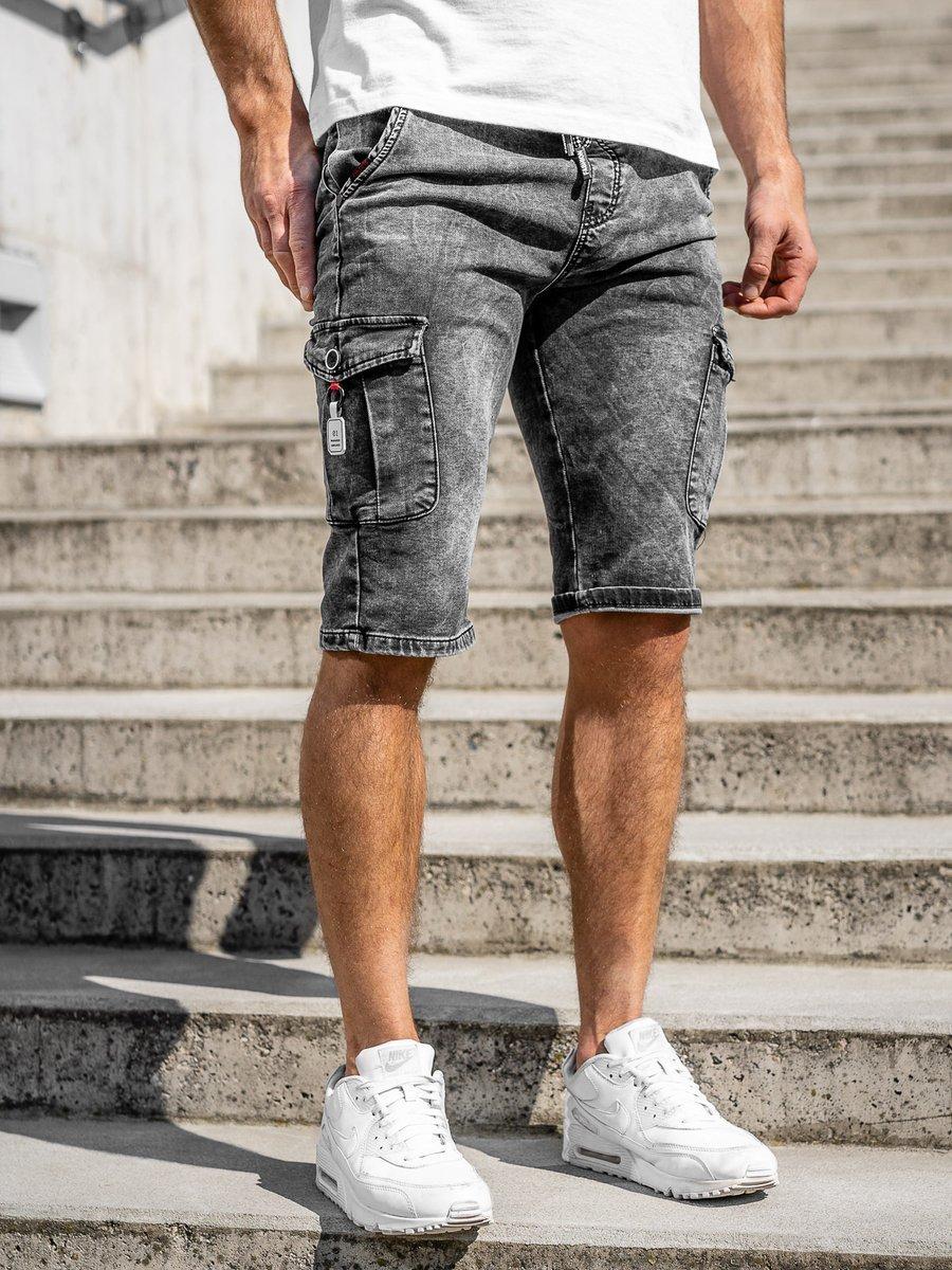 Pantaloni scurți de blugi cargo negri Bolf KR1201 imagine