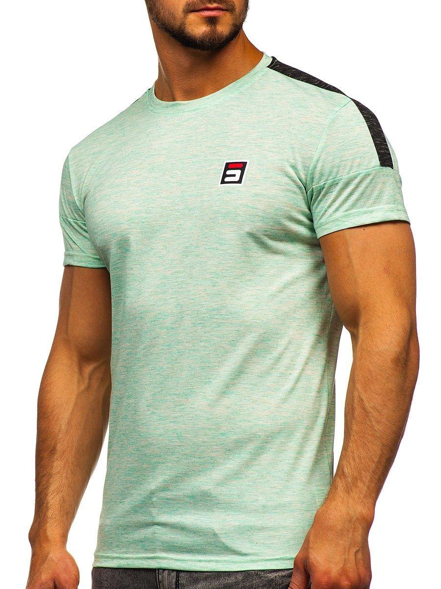 Tricou verde-mentă cu imprimeu bărbați Bolf SS11127